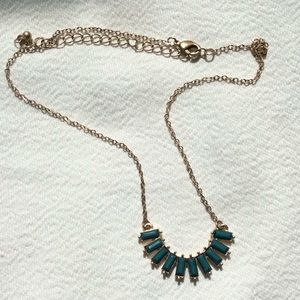 Jewelry - GOLD HALF CIRCLE with Green Stones Necklace